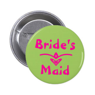 Bride's Maid Button in lime green and pink