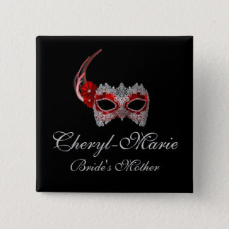 """Bride's Mother"" - Red Lace Masquerade Mask Button"