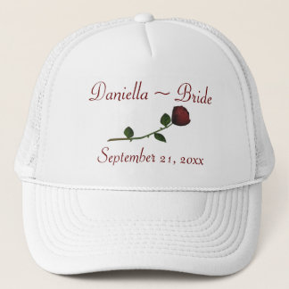 Bride's Name/Wedding Date - Red Long Stemmed Rose Trucker Hat