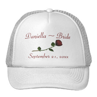 Bride's Name/Wedding Date - Red Long Stemmed Rose Trucker Hat