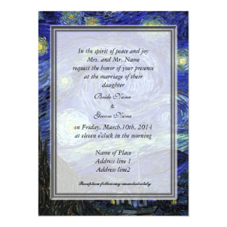 "Bride's parents  invitation, Starry Night 5.5"" X 7.5"" Invitation Card"