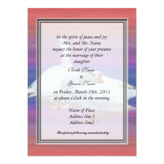 bride's parents invitation, two white geese card