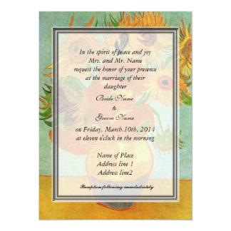 "bride's parents invitation, van Gogh sunflowers 5.5"" X 7.5"" Invitation Card"