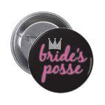 Bride's Posse Crown Pinback Buttons