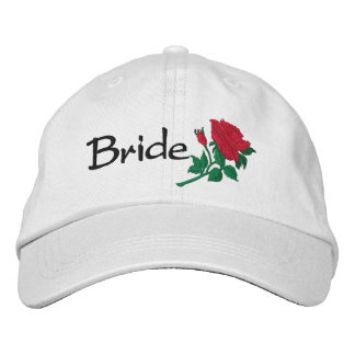 Bride's Red Rose Embroidered Wedding Cap