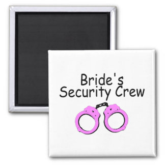 Brides Security Crew (Handcuffs) 2 Inch Square Magnet