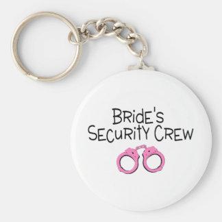 Brides Security Crew Pink Handcuffs Basic Round Button Keychain
