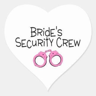Brides Security Crew Pink Handcuffs Heart Sticker