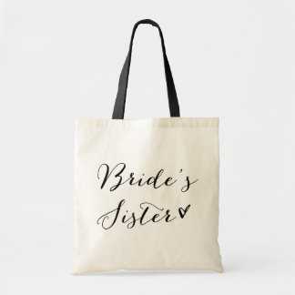 Bride's Sister | Black Modern Calligraphy Budget Tote Bag