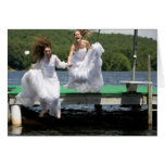 Brides taking a Leap - blank Greeting Card