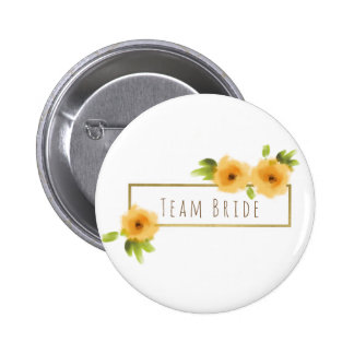 Bride's team CHEERFUL YELLOW ORANGE FLOWERS Pinback Button