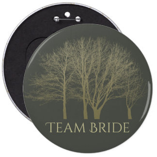 Bride's team ELEGANT GREY GOLD FALL AUTUMN TREES Pinback Button