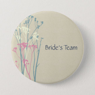 Bride's team RUSTIC BLUE WHITE PINK COUNTRY CHARM Pinback Button