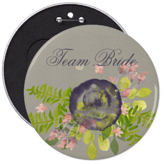 Bride's team RUSTIC VIOLET YELLOW WILD FLOWERS Pinback Button