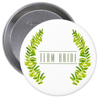 Bride's team VIBRANT GREEN WATERCOLOUR FERN FOLIAG Pinback Button