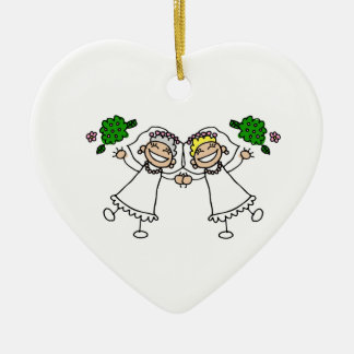 Brides Tossing Bouquests Double-Sided Heart Ceramic Christmas Ornament