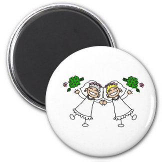 Brides Tossing Bouquests Refrigerator Magnet
