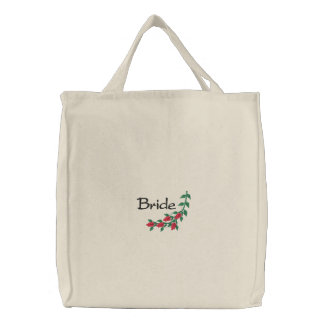 Bride's Tote Bag With Embroidered  Red Roses
