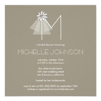 Bride's Veil Daisy Flower Monogram Bridal Shower Card