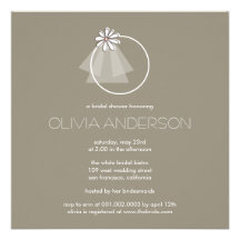 Bride's Veil Daisy Flower Monogram Bridal Shower Invites