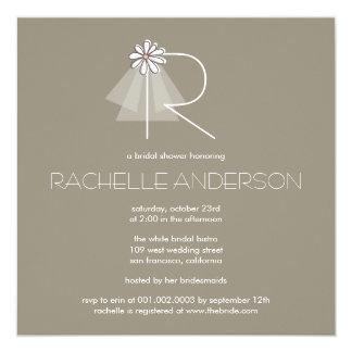 Bride's Veil Daisy Flower Monogram Bridal Shower Personalized Announcement