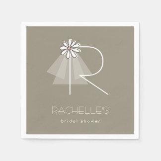 Bride's Veil Daisy Monogram Bridal Shower Party Paper Napkin