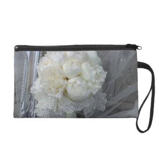 Brides Wedding Bag, Bridal Purse, White Peonies Wristlet Purse