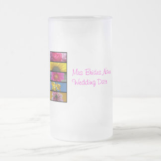 Brides Wedding Glass - Pink & Yellow Macro Flowers Frosted Glass Beer Mug
