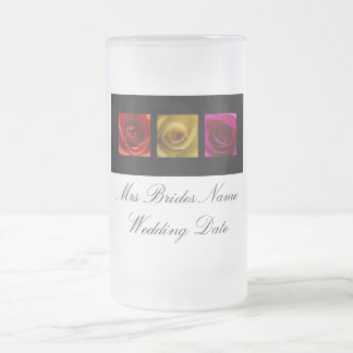 Brides Wedding Glass - Roses pink yellow orange Frosted Glass Beer Mug