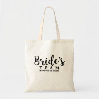 Bride's Wedding Team, Crew, Squad, Modern Script Tote Bag
