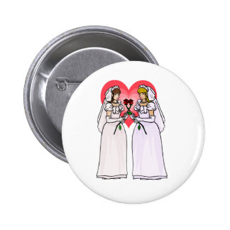 Brides with Roses in Love Pinback Button