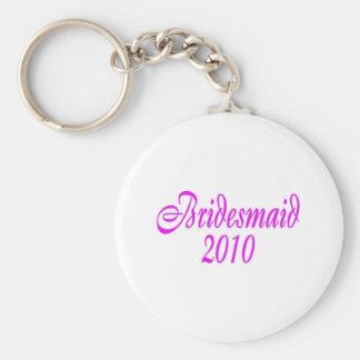 Bridesmaid 2010 (Pink) Basic Round Button Keychain