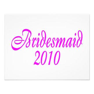 Bridesmaid 2010 Pink Personalized Invite
