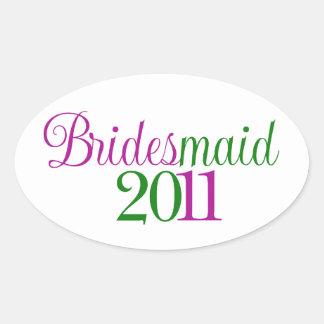 Bridesmaid 2011 oval sticker