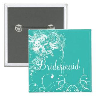 Bridesmaid 2 Inch Square Button