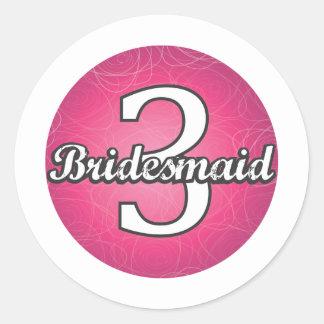 Bridesmaid #3 classic round sticker