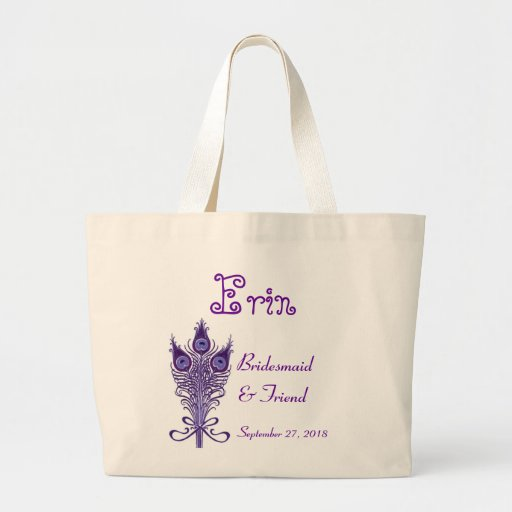 BRIDESMAID and FRIEND Purple Peacock Feathers Tote Bags