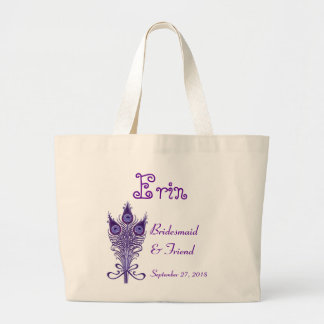 BRIDESMAID and FRIEND Purple Peacock Feathers Large Tote Bag