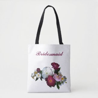Bridesmaid Antique Roses Wedding Tote Bag