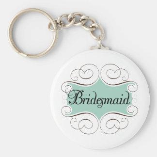 Bridesmaid Aqua Wedding Bridal Party Keychain