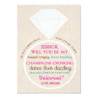 Bridesmaid Ask Card in Pink and Teal