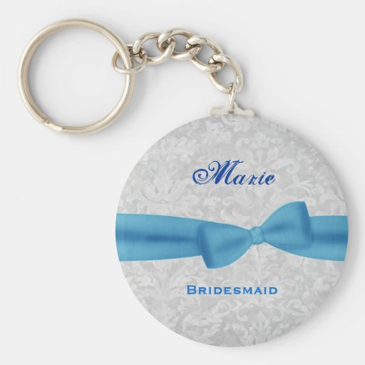 Bridesmaid Baby Blue Bow Silver Damask E012 Basic Round Button Keychain