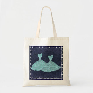 Bridesmaid Bag Aqua Blue Gowns Navy Background