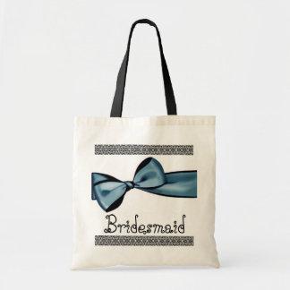 Bridesmaid Bag -Blue Faux Satin Bow and Lace