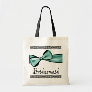 Bridesmaid Bag Mint Green Faux Satin Bow and Lace