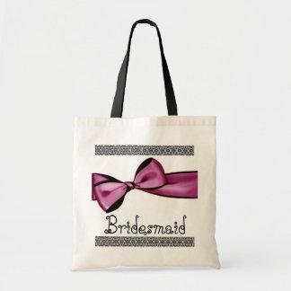 Bridesmaid Bag - Pink Faux Satin Bow and Lace