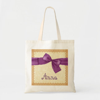 Bridesmaid Bag PURPLE Bow and Gold Lace V06