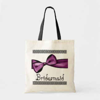 Bridesmaid Bag - Purple Faux Satin Bow and Lace