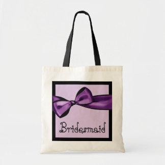 Bridesmaid Bag Purple Faux Satin Bow and Lace V02