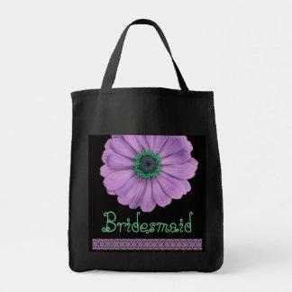 Bridesmaid Bag Purple Green Daisy and Lace